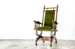 Classical style rocking chair with green wool on white backgroun Stock Images
