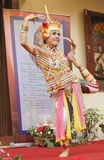 Classical Thai folk-dance. NAKHON SI THAMMARAT, THAILAND - AUGUST 03: Man dance Ma-No-Ra Form of folk-dance at opening Nang Talung Museum, House of The National Royalty Free Stock Images