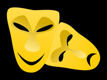 Classical tragedy and comedy masks stock images