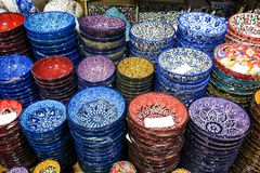 Classical Turkish ceramics on the Istanbul Grand Bazaar. Stock Image