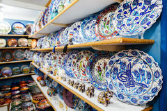 Classical Turkish ceramics on the market Royalty Free Stock Image