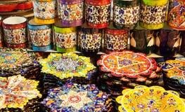 Classical Turkish ceramics on the market Royalty Free Stock Photos