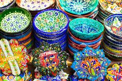 Classical Turkish ceramics on the market Stock Images
