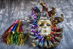 Classical venetian carnival mask and blowers Stock Images