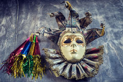Classical venetian carnival mask and blowers Royalty Free Stock Photos