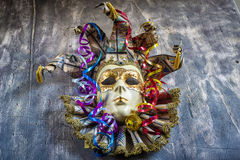 Classical venetian carnival mask and serpentine Royalty Free Stock Photography