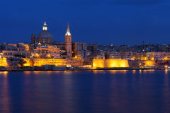 Classical view of Malta's capital, Valletta. After sunset Stock Image
