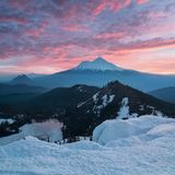 Classical view of Mount Shasta Volcano with glaciers, in California, USA. Panorama from Heart Lake. Mount Shasta is a volcano royalty free stock image