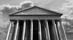 Classical view of the Roman Pantheon in Rome. Bold scene of the ancient Roman Pantheon in Rome, Italy stock photo
