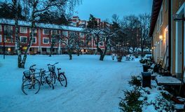 Classical and vintage bicycles parked outside during winter day, Nockeby, Bromma, Stockholm, January 2018. Beautiful classical bicycles during a typical swedish Royalty Free Stock Photos