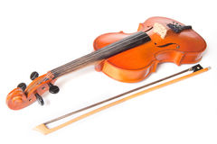 Classical violin and bow Royalty Free Stock Photos
