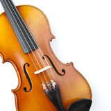 Classical violin close-up. Classical brown violin close-up no the white background Royalty Free Stock Photo