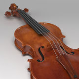 Classical violin on grey background. 3d rendering Classical violin on grey background Stock Photos