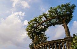 Classical vista point in Italian garden with blue sky and copy space. Classical vista point in Italian garden with blue sky and copy space Stock Photos