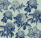 Classical Wall-paper With A Flower Pattern. Stock Photo