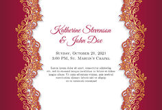 Classical wedding invitation with golden ornament. Decoration and red border Stock Images