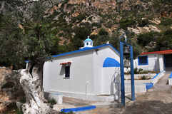 Classical white and blue greek chapel Stock Image