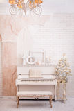 Classical white hall in winter time. Stock Photography
