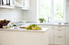 Classical white kitchen with healthy food Stock Image