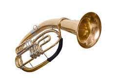 Classical wind musical instrument baritone Euphonium isolated on white background. A classical wind musical instrument baritone Euphonium Golden color isolated Royalty Free Stock Image