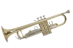 Classical wind musical instrument cornet isolated on white background. A classical wind musical instrument gilded color cornet isolated on white background Stock Photo