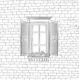 Classical window over Shabby brick wall background Royalty Free Stock Photography