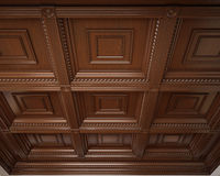 Classical wooden caisson ceiling Royalty Free Stock Photos