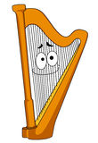 Classical wooden harp. With a smiling face on the strings, cartoon illustration isolated on white stock illustration