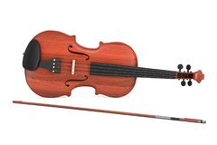 Classical Wooden Violin with Bow. 3d Rendering. Classical Wooden Violin with Bow on a white background. 3d Rendering Stock Image