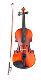 Classical wooden violin with french bow Royalty Free Stock Images