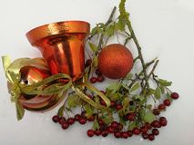 Classical Xmas card with bells and red ball. Classical Xmas card with bells, red ball and natural autumn red berries stock photos