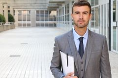 Classically good looking male  in office space.  Stock Photos