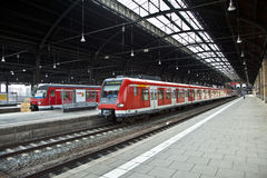 Classicistic iron train station from inside Stock Images