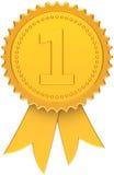 Classico dorato del primo del posto nastro del premio Immagini Stock Libere da Diritti