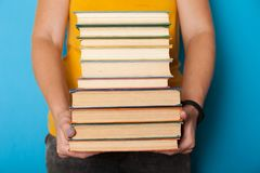 Classics collection, book stack, pile. Bookshelf education concept.  stock photos
