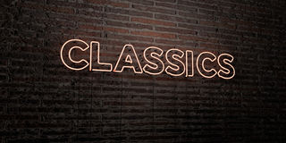 CLASSICS -Realistic Neon Sign on Brick Wall background - 3D rendered royalty free stock image. Can be used for online banner ads and direct mailers Royalty Free Stock Image