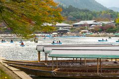 Classics, traditional boats in arashiyama kyoto. Classics, traditional boat used to transport people in arashiyama kyoto. During autumn when all leaves turn red royalty free stock photo