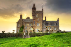 Classiebawn Castle at sunset stock photography
