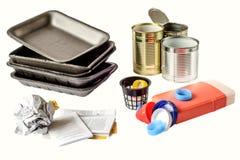 Classificação de tipos do lixo Conceito da gestão de resíduos Vista superior Imagens de Stock