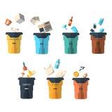 Classificação Waste de tipos vetor ajustado do lixo Foto de Stock Royalty Free