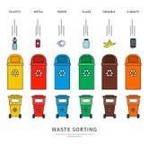 Classificando escaninhos de lixo Imagem de Stock Royalty Free