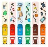 Classificando escaninhos de lixo Fotos de Stock Royalty Free