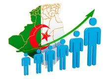 Classificatie van werkgelegenheid en werkloosheid of mortaliteit en vruchtbaarheid in Algerije, concept het 3d teruggeven royalty-vrije illustratie