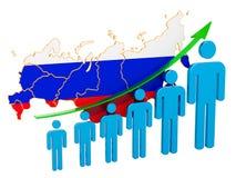 Classificatie van werkgelegenheid en werkloosheid of mortaliteit en vruchtbaarheid in de Russische Federatie, concept het 3d teru stock illustratie
