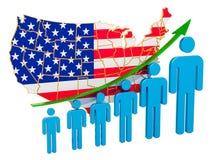 Classificatie van werkgelegenheid en werkloosheid of mortaliteit en vruchtbaarheid in de V.S., concept het 3d teruggeven stock illustratie