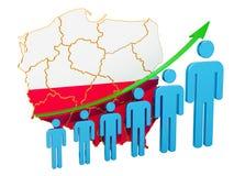 Classificatie van werkgelegenheid en werkloosheid of mortaliteit en vruchtbaarheid in Polen, concept het 3d teruggeven royalty-vrije illustratie