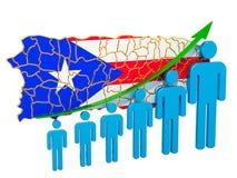 Classificatie van werkgelegenheid en werkloosheid of mortaliteit en vruchtbaarheid in Puerto Rico, concept het 3d teruggeven stock illustratie