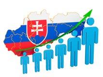 Classificatie van werkgelegenheid en werkloosheid of mortaliteit en vruchtbaarheid in Slowakije, concept het 3d teruggeven stock illustratie