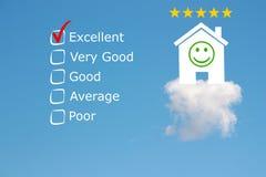 Classification d'examen d'hôtel avec des étoiles et l'emoji Photos stock