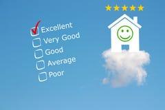 Classification d'examen d'hôtel avec des étoiles et l'emoji Photo libre de droits